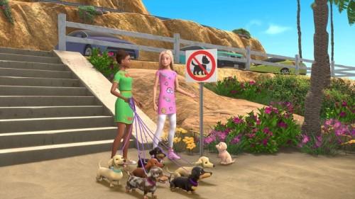 Barbie dắt chó đi dạo trong game Dreamhouse Adventures