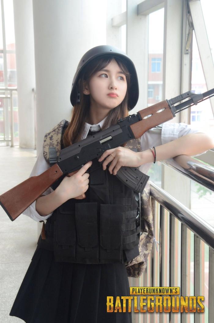 hot girl pubg game với súng AK
