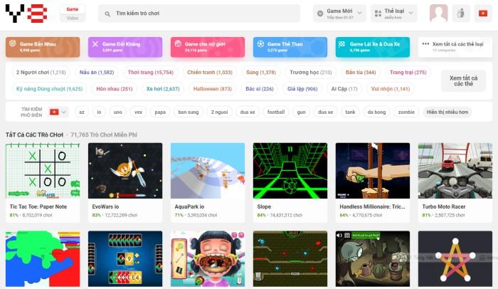 y8 trang web chuyên chơi game PC online miễn phí 2020