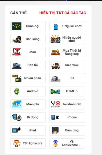 danh sách games Y8 với tag