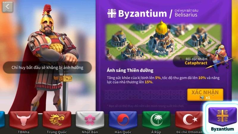 Byzantium quốc gia Đông La Mã trong Rise of Kingdom