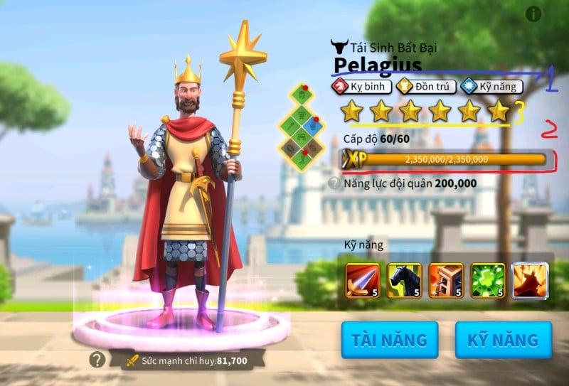 Chỉ số tài năng của chỉ huy Pelagius trong ROK