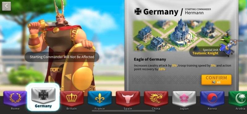 Quốc gia Đức trong game Rise of Kingdoms